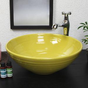 黄色手洗い鉢【中型サイズ】信楽焼き手洗器!陶器の手水鉢[tr-3189]