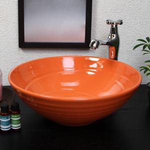 オレンジ色手洗い鉢【中型サイズ】信楽焼き手洗器!陶器の手水鉢[tr-3193]