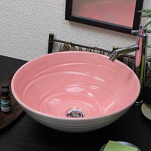 ピンクホワイト手洗い鉢【中型サイズ】信楽焼き手洗器!陶器の手水鉢[tr-3221]