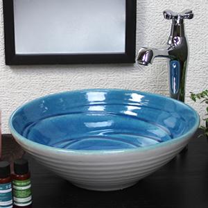 ブルーホワイト(小型)手洗い鉢【小型サイズ】信楽焼き手洗器!陶器の手水鉢[tr-2232]