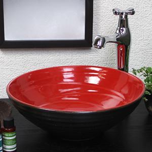 レッドブラック(小型)手洗い鉢【小型サイズ】信楽焼き手洗器!陶器の手水鉢[tr-2233]