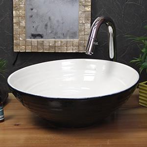 ホワイトブラック手洗い鉢【中型サイズ】信楽焼き手洗器!陶器の手水鉢[tr-3226]