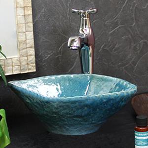 ブルーガラスひし型手洗い鉢【ミニサイズ】信楽焼き手洗器!陶器の手水鉢[tr-1169]