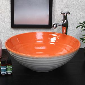 オレンジホワイト手洗い鉢【中型サイズ】信楽焼き手洗器!陶器の手水鉢[tr-3228]