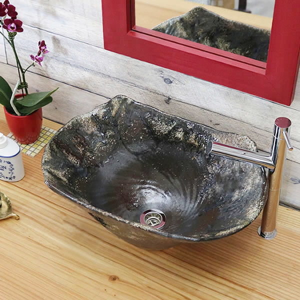 火色窯肌 長角型 手洗い鉢【大型サイズ】 信楽焼き手洗器 陶器の手水鉢 陶器 角型 長方形 [tr-4127]