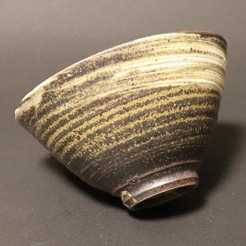 信楽焼 紫黒刷毛目飯碗 w311-08