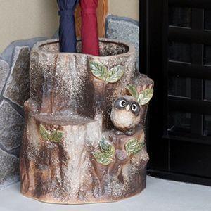 信楽焼きかさたて 森のフクロウ傘立て 陶器[kt-0149]
