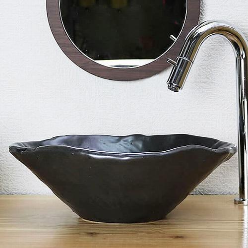 手ひねり変形手洗い鉢【小型サイズ】 信楽焼き手洗器 陶器の手水鉢 [tr-2251]