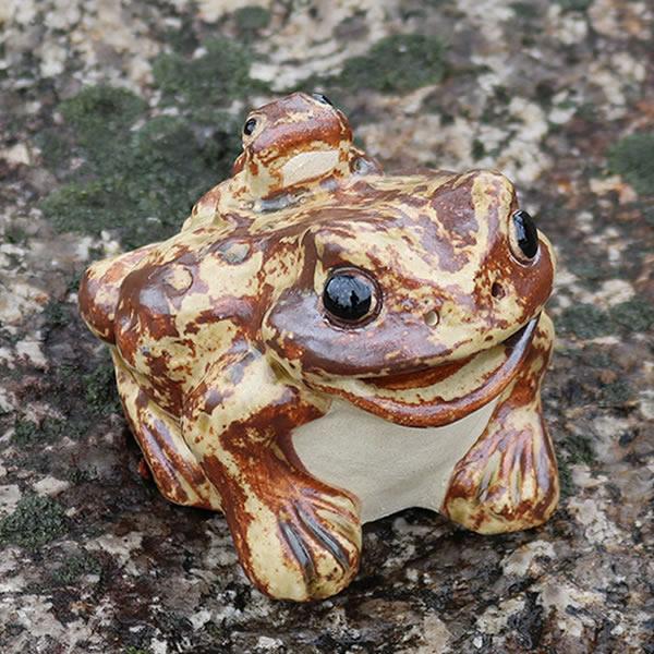 信楽焼 3号蛙口あきカエル 縁起物のカエル しがらき かえる [ka-0067]