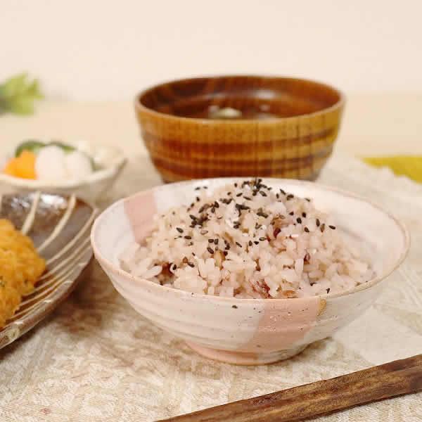 信楽焼 潮騒ライン(ブラック・ピンク)夫婦飯碗 w310-05_06