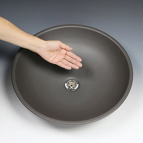 黒マット手洗い鉢【大型サイズ】 信楽焼き手洗器! 陶器の洗面ボウル [tr-4101]