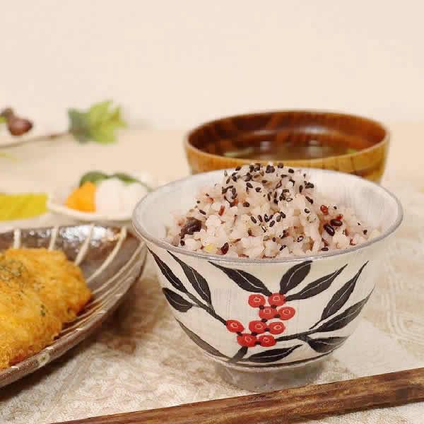 信楽焼 南天(黒・赤)夫婦飯碗 w309-03_04