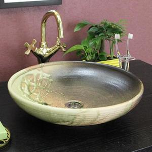 古信楽(平型)手洗い鉢【中型サイズ】信楽焼き手洗器!陶器の手水鉢[tr-3130]