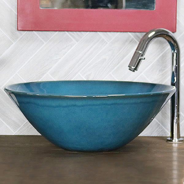 織部色ソリ型手洗い鉢【中型サイズ】 信楽焼き手洗器 陶器の手水鉢 [tr-3041]