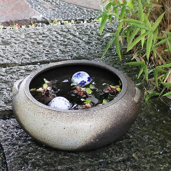 13号滋水鉢 信楽焼 金魚鉢、メダカ鉢にお勧め スイレン鉢 手水鉢 [su-0180]