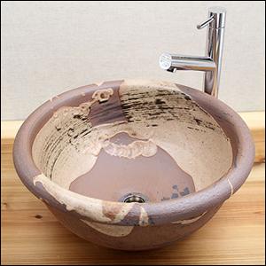 紅ハケメ手洗い鉢【中型サイズ】信楽焼き手洗器!陶器の手水鉢[tr-3035]