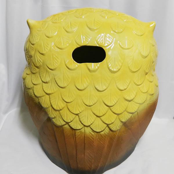 信楽焼きふくろう 15号福多郎(黄色) 陶器フクロウ置物[fu-0108]