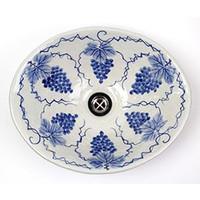 ぶどう絵小判型手洗い鉢【小型サイズ】信楽焼き手洗器!陶器の手水鉢[tr-2223]