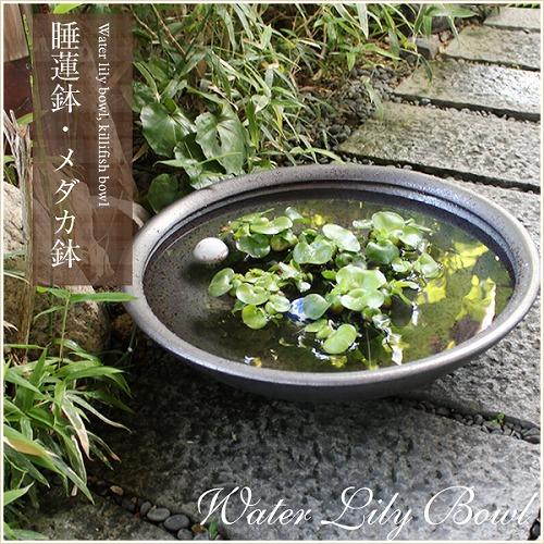 20号銀彩水鉢 信楽焼 金魚鉢、メダカ鉢にお勧め[su-0152]