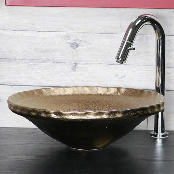 金彩 手洗い鉢【小型サイズ】 信楽焼き手洗器 陶器の手水鉢 陶器 丸型 ゴールド [tr-2263]