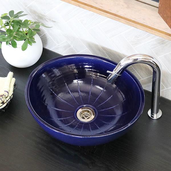 小判型ルリ色線入り 手洗い鉢【小型サイズ】 信楽焼き手洗器 陶器の手水鉢 陶器 楕円型 [tr-2276]