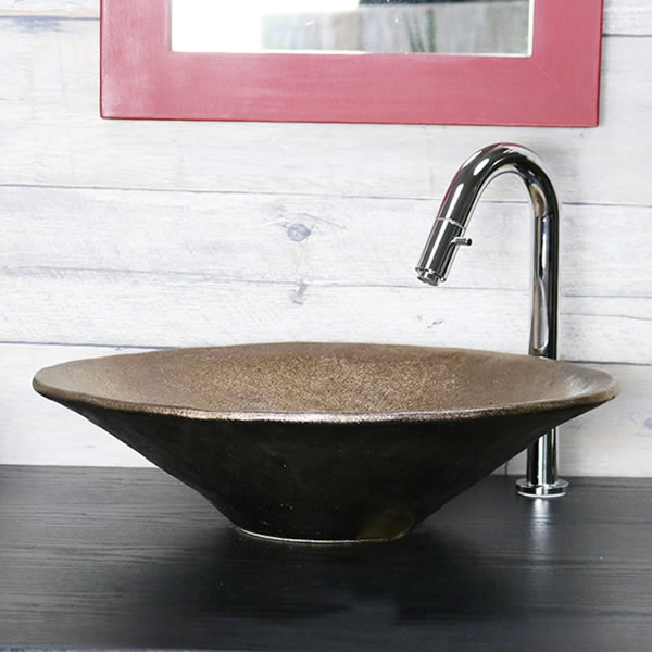 金彩 小判型 手洗い鉢【大型サイズ】 信楽焼き手洗器 陶器の手水鉢 陶器 楕円型 [tr-4129]