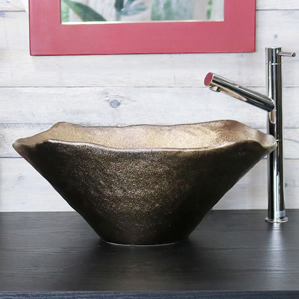 金彩 窯肌 長角型 手洗い鉢【大型サイズ】 信楽焼き手洗器 陶器の手水鉢 陶器 角型 長方形 [tr-4130]