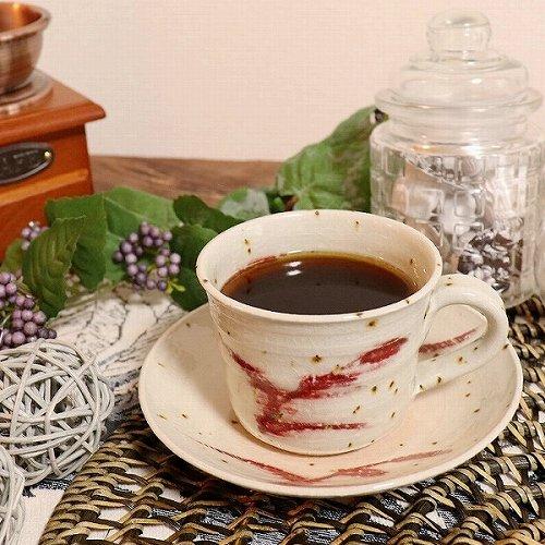 信楽焼 草紋(赤) コーヒー碗皿 珈琲カップ コーヒーカップ