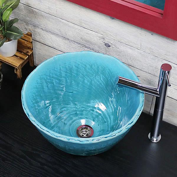 ターコイズブルー 深型 手洗い鉢【小型サイズ】 信楽焼き手洗器 陶器の手水鉢 陶器 丸型 青色 [tr-2277]