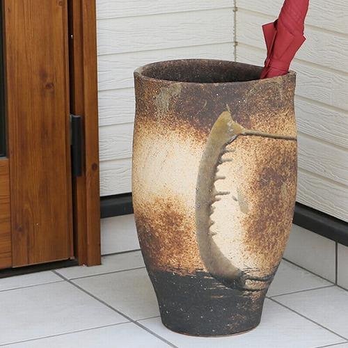信楽焼きかさたて 黒ビードロ流し傘立て 陶器かさたて [kt-0015]