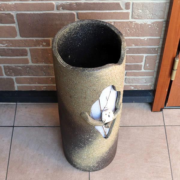 信楽焼きかさたて 障子木のりフクロウ傘立て 陶器 [kt-0038]