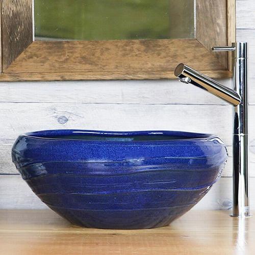ナマコ色たわみ手洗い鉢【小型サイズ】 信楽焼き手洗器 陶器の手水鉢 [tr-2209]