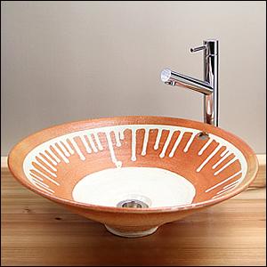 ビードロ流しソリ型手洗い鉢【オーバーフロー】信楽焼き手洗器!陶器の洗面ボウル[tr-6016]