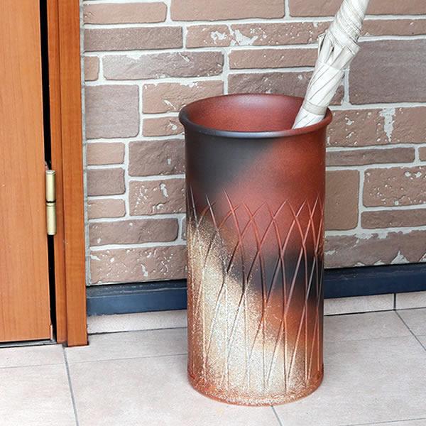 信楽焼きかさたて 火色流し傘立て 陶器かさたて やきもの 和風傘立て [kt-0062]