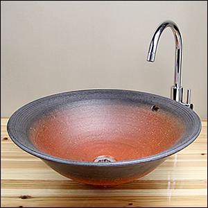 鉄赤特大手洗い鉢【オーバーフロー】信楽焼き手洗器!陶器の洗面ボウル[tr-6024]