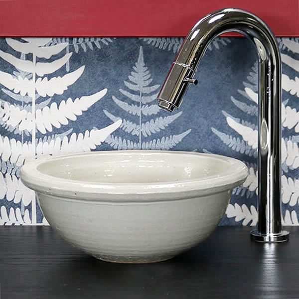 白マット碗型手洗い鉢【ミニサイズ】 信楽焼き手洗器 陶器の手水鉢 [tr-1187]