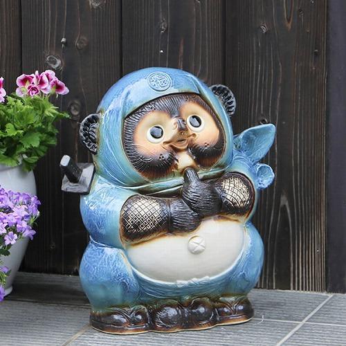 信楽焼きたぬき 青忍者たぬき(大) ニンジャ狸 陶器タヌキ [ta-0301]