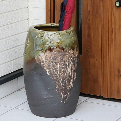 信楽焼きかさたて 手ひねり窯変傘立て 陶器[kt-0115]