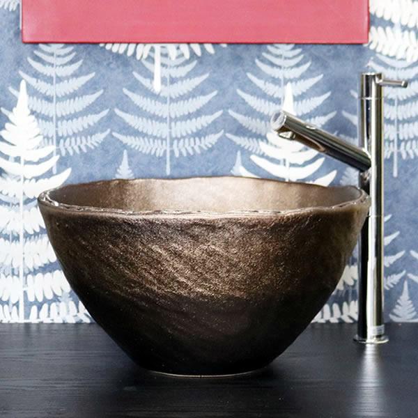 金彩 深型 手洗い鉢【小型サイズ】 信楽焼き手洗器 陶器の手水鉢 陶器 丸型 [tr-2264]