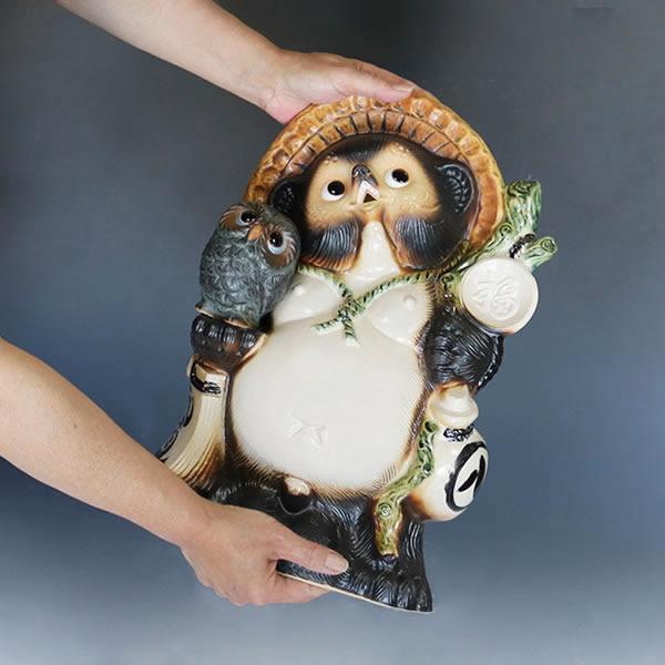 信楽焼きたぬき 13号ふくろう持ち狸(青銅) 陶器タヌキ フクロウ持ち狸 [ta-0076]