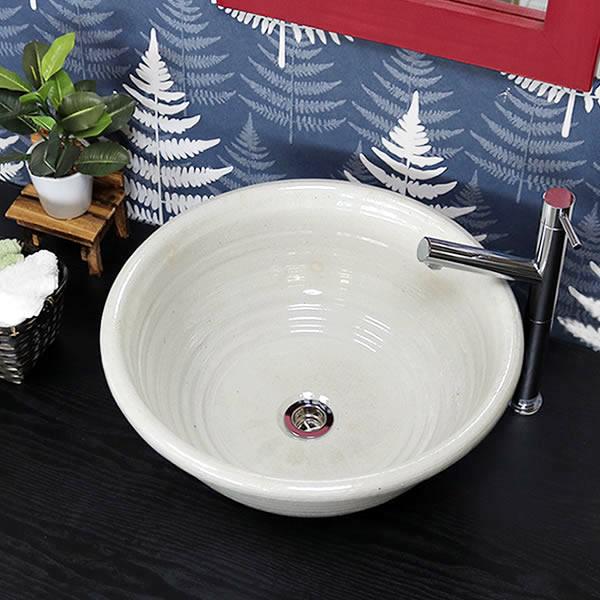 手洗い鉢【大型サイズ】 信楽焼き手洗器 陶器 洗面ボウル 白マット 埋め込み据え置き兼用タイプ [tr-4131]