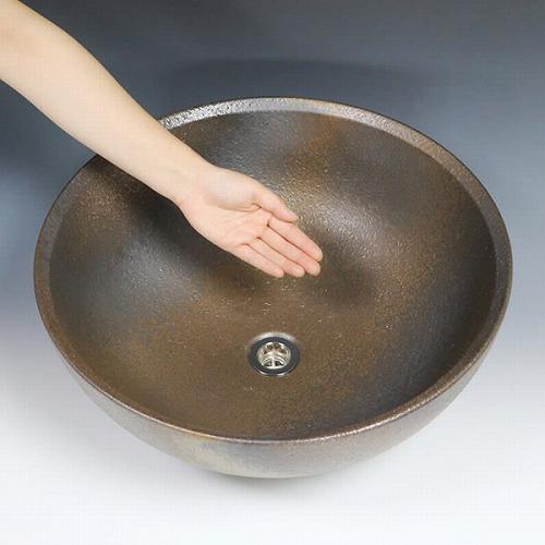 金彩ボール型手洗い鉢【大型サイズ】 信楽焼き手洗器 陶器の洗面ボウル [tr-4116]
