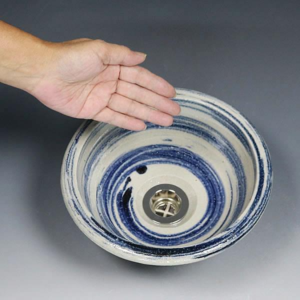 青はけ目 手洗い鉢【ミニサイズ】 信楽焼き手洗器 陶器の手水鉢 据置き、埋込み兼用[tr-1189]