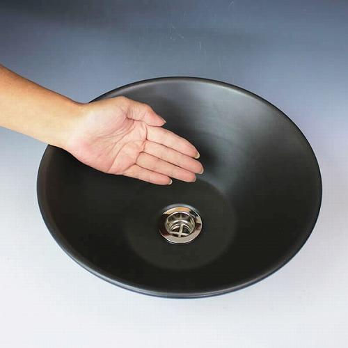 黒マット手洗い鉢【小型サイズ】信楽焼き手洗器!陶器の手水鉢[tr-2252]