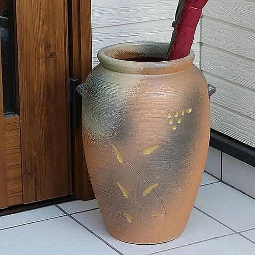 信楽焼かさたて 窯肌傘立て 陶器かさたて [kt-0327]