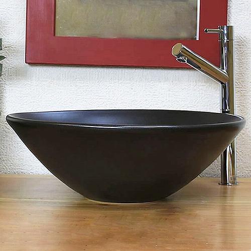 黒マット手洗い鉢【中型サイズ】信楽焼き手洗器!陶器の手水鉢[tr-3231]