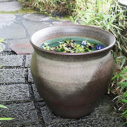 20号天水型大型サイズ水鉢 信楽焼 金魚鉢、メダカ鉢にお勧め すいれん鉢 特大サイズ [su-0227]