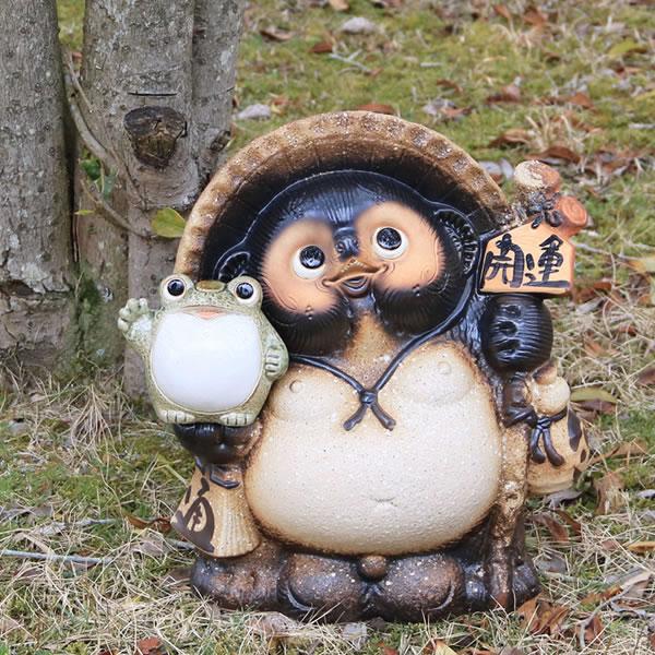 信楽焼きたぬき 11号古信楽風福蛙持ち狸 陶器タヌキ [ta-0133]