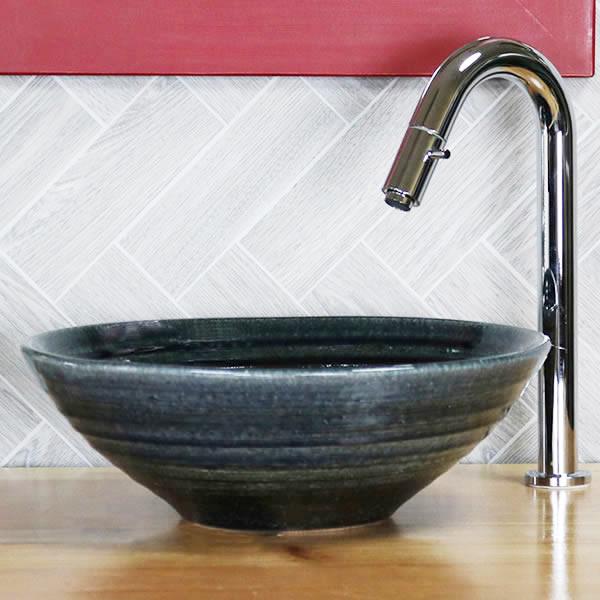 信楽焼き 緑窯変 手洗い鉢【小型サイズ】信楽焼き手洗器!陶器の手水鉢 [tr-2266]