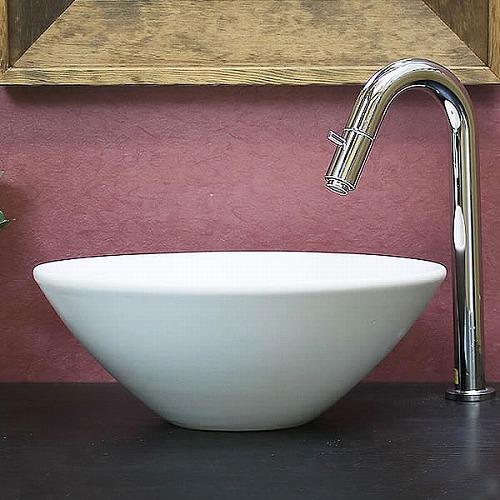 白マット手洗い鉢【小型サイズ】信楽焼き手洗器!陶器の手水鉢[tr-2253]